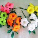 ดอกบานบุรีถักโครเชต์ คละสี