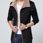 เสื้อ แจ็คเก็ต ผู้ชายแขนยาว Jacket แบบสูท เสื้อกันหนาว ไฮโซ ซับใน ด้านใน เป็นขนสัตว์ นุ่ม ใส่สบาย ดีไซน์ เป็น เสื้อสูท สีดำ 79420
