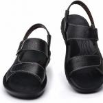 รองเท้าผู้ชาย รองเท้า แบบรัดส้น รองเท้า ใส่เที่ยว รองเท้าหนัง สำหรับท่องเที่ยว เดินป่า เดินเขา มีสายรัดส้น ใส่สบาย สีดำ 599570
