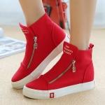 รองเท้าผ้าใบ ผู้หญิง รองเท้าหุ้มข้อ สีแดง รองเท้าแฟชั่น หุ้มส้น แบบวัยรุ่น แนวสปอร์ต แต่งซิปด้านหน้า สาวมั่น น่ารักสุด ๆ 508395_2