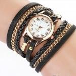 นาฬิกาข้อมือ ผู้หญิง สายหนัง พันรอบข้อมือ เป็นสร้อยข้อมือหนัง แบบ เท่ ๆ นาฬิกา สไตล์ ร๊อค สีดำ 322276