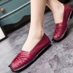 รองเท้าหุ้มส้น รองเท้าหนังแท้ รองเท้าผู้หญิง แฟชั่น ดีไซน์ หนังนิ่ม ใส่สบาย ยืดหยุ่นสูง ออกแบบ จับจีบ หน้าเท้า สีแดง 474582_2