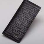 กระเป๋าสตางค์ผู้ชาย ใบยาว หนังวัวแท้ สีดำ ลายตาราง กำแพง กระเป๋าสตางค์นักธุรกิจ ดีไซน์ สวย เรียบหรู มีสไตล์ คลาสสิค ของขวัญให้แฟน 286785_1