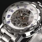 นาฬิกาข้อมือ โชว์กลไก Mechanical watch นาฬิกาข้อมือผู้ชาย สาย Stainless Steel ไม่ต้องใส่ถ่าน สีเงิน หน้าปัดขาว ตัวเลขโรมัน สีน้ำเงิน 268605_4