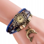 นาฬิกาข้อมือ ผู้หญิง สายหนังถัก สไตล์สร้อยข้อมือ วินเทจ นาฬิกาสายหนัง ห้อยจี้ ปลาโลมา สีน้ำเงิน ของขวัญให้แฟน