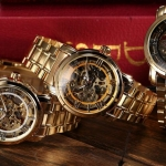 นาฬิกาข้อมือ โชว์กลไก Mechanical watch นาฬิกาข้อมือผู้ชาย สาย Stainless สีทอง หรูหรา มีระดับ หน้าปัด 3 สไตล์ ของขวัญให้คนพิเศษ สุดหรู 869674