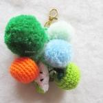 พวงกุญแจผลไม้ห้อยปอมปอม Pompom tassel crochet