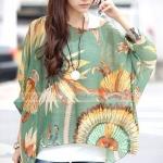 เสื้อคลุม ผ้าชีฟอง คอกว้าง เสื้อใส่เที่ยวทะเล ใส่เที่ยว สีแสบ แฟชั่น สุดเก๋ ลายขวาง สีเขียวลายดอกไม้ สไตล์วินเทจ no 85154_3