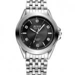 นาฬิกาข้อมือ ผู้ชาย สาย Stainless steel สีเงิน 7 แถว 7 ข้อ นาฬิกาข้อมือผู้ชาย สไตล์ หนุ่มมาดเนี้ยบ หน้าปัดดำ และ เงิน ฝังเพชรด้านใน 509193