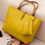 กระเป๋าถือสำหรับผู้หญิง ใบใหญ่ วัสดุ PU ทนทานกันน้ำได้ สีเหลือง