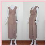 **สินค้าหมด dress2215 แม็กซี่เดรส/เดรสยาวแฟชั่น คอวี แขนกุดจับจีบบ่า กระโปรงผ่าข้าง ผ้าชีฟองสีน้ำตาลพาสเทล