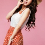 เดรสลายจุด สีส้ม สไตล์ สาวเกาหลี น่ารัก ด้านบน เป็น ผ้าชีฟอง สีขาว no 36893