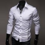 เสื้อเชิ้ตผู้ชาย แขนยาว เสื้อเชิ้ต ใส่ทำงาน ใส่เที่ยว สีขาว แบบ สลิมฟิต สำหรับผู้ชายหุ่นดี แต่งเส้นขอบ เสื้อคอปก แบบเท่ ๆ 206200