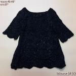 blouse3430 เสื้อกันหนาวไหมพรมถักเนื้อแน่น คอปาด แขนสามส่วน สีดำ