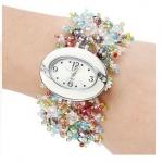 นาฬิกาข้อมือผู้หญิง สร้อยข้อมือนาฬิกา ร้อยลูกปัดเม็ดเล็ก งาน Hand made นาฬิกา ใส่กับ ชุดเดรส หวาน ๆ สีชมพู สีรุ้ง สีฟ้า สีดำ สีเงิน 76051