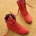 รองเท้าบูทผู้หญิง หนังแท้ รองเท้ามาตินบูท ส้นแบน สีพื้น สไตล์ สาวคาวบอย เท่ ๆ สีชมพู ใส่กับเดรส หวาน ๆ รองเท้าผ้าใบแบบหุ้มข้อสูง 399771_6