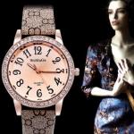 นาฬิกาข้อมือผู้หญิง สายหนัง ลายโซ่ สีเทา และ สีน้ำตาล หน้าปัด ฝังเพชรรอบเรือน นาฬิกาดีไซน์หรู แบบคลาสสิค 88286