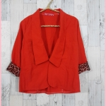 SALE!! blouse1682 เสื้อคลุมแฟชั่นคอปกสูท กระดุมหน้า แขนสี่ส่วนต่อชายลายเสือ ผ้าหางกระรอกสีส้มอิฐ