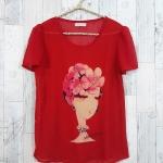 SALE!! blouse1788 เสื้อแฟชั่นผ้าชีฟองเนื้อทราย แต่งลายผู้หญิงปักมุก แขนสั้น สีแดง