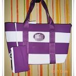 กระเป๋าถือ กระเป๋าสะพาย Lc สีม่วงสลับขาว
