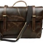 กระเป๋าสะพายข้าง ผู้ชาย กระเป๋าถือ ใส่เอกสาร ใส่ Notebook ใบใหญ่ หนังม้าแท้ โชว์ลายหนัง ลง Oil wax สวยหรู คลาสสิค สีน้ำตาล 93205