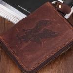 กระเป๋าสตางค์หนังวัวแท้ ใบสั้น แบบ ซิปรอบ สีน้ำตาล คลาสสิค ปั้มลาย นกเหยี่ยว กระเป๋าสตางค์ผู้ชาย แบบเท่ ๆ ของขวัญให้แฟน สุดหรู 60862