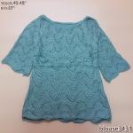 **สินค้าหมด blouse3431 เสื้อกันหนาวไหมพรมถักเนื้อแน่น คอปาด แขนสามส่วน สีเขียว