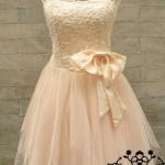 มินิเดรสเกาะอก ชุดแต่งงาน ออกงาน สีโอรส ปักเลี่ยม มีโบว์คาดเอว no 76520_1