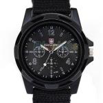 นาฬิกาข้อมือ ผู้หญิง ผู้ชาย แนว Sport สายผ้า Canvas เหมาะสำหรับคนแพ้สายโลหะ สีดำ no 93040