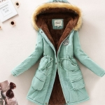 แจ็คเก็ต แบบมีฮู้ด เสื้อคลุม กันหนาว Jacket ขนเฟอร์ สุดหรู แขนยาว เสื้อโค้ท ใส่กันหนาว ใส่เที่ยวต่างประเทศ ด้านในเป็นขนนุ่ม แจ็คเก็ตยีนส์ สีสวย 573041