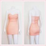 **สินค้าหมด dress2322 เดรสแฟชั่นเกาะอกเสริมฟองน้ำบาง หลังริ้วเป็นเส้นๆ ซิปหลัง ผ้าสกินนี่(ยืดได้เยอะ) สีส้มพาสเทล (โอลด์โรสอ่อน) Size M