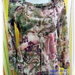 Used 002 เสื้อใส่ทำงาน ผ้าซีฟอง ลายดอกไม้ แขนตุ๊กตา น่ารักมากค่ะ
