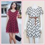 **สินค้าหมด dress2811 ชุดเดรสแฟชั่นไซส์ใหญ่แขนสั้น ผ้ายืดซีทรูลายแมลงปอมีซับในสีขาว (ไม่รวมเข็มขัด)