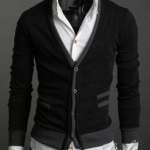 เสื้อคลุมผู้ชายแขนยาว สไตล์ แจ็คเก็ต แบบสูท ผ้า Cotton ออกแบบ เป็นสูท 2 ชั้น เสื้อนอก ผู้ชาย ใส่ออกงาน กระดุมหน้า สีดำ 947691