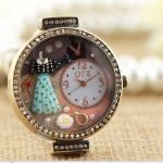 นาฬิกาข้อมือ Diy นาฬิกาข้อมือผู้หญิง สายหนัง แต่ง Display 3 มิติ ด้านใน เป็น ชุดแฟชั่น สร้อยคอ น่ารัก ๆ หน้าปัดฝังคริสตัลเพชร นาฬิกาเก๋ ๆ 469055