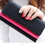กระเป๋าสตางค์ผู้หญิง ใบยาว กระเป๋าสตางค์ แบบ ถือออกงาน ดีไซน์ ที่เปิด 2 ชั้น สลับสี ลายหนังจรเข้ ไม่มีลาย แบบเรียบหรู ถือออกงาน ราคาถูก 110999