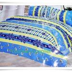 3.5 ฟุต 3 ชิ้น ชุดเครื่องนอน ผ้าปูที่นอน สีฟ้า ดอกไม้ P002