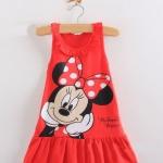 ชุดเดรส สำหรับเด็ก ลาย Minnie Mouse แขนกุด สีแดง no 34150