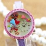 นาฬิกาข้อมือ Diy นาฬิกาข้อมือผู้หญิง สายหนัง แต่ง Display 3 มิติ ลูกโป่ง รูปหัวใจ หวานๆ สีแดง ชมพู ของขวัญให้แฟน สุดน่ารัก 114332