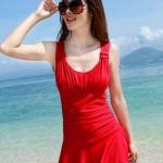 ชุดว่ายน้ำ วันพีช แบบกระโปรง ปกปิดต้นขา สวมใส่สบาย อย่างมั่นใจ สีแดง no 888787