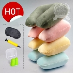 Travel Pillow U-shaped neck pillow - ชุดเซ็ทหมอนรองคอเป่าลม ที่ปิดตา ที่ปิดหู พกพาสำหรับเดินทางบนเครื่องบิน