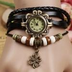 นาฬิกาข้อมือผู้หญิง นาฬิกา สายหนังถัก แบบสร้อยข้อมือ ห้อยจี้ ดอกไม้ ดอกโคลเว่อร์ สัญลักษณ์ ของความสุข ความโชคดี สีดำ 36588_1
