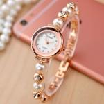 นาฬิกาข้อมือฝังเพชร ร้อยไข่มุก สีทอง pink gold เงิน สุดหรู เหมาะกับสาวข้อมือเล็ก นาฬิกาสวย ๆ ของขวัญแทนใจ 639077