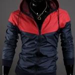 เสื้อ แจ็คเก็ต ผู้ชาย แบบ มีฮู้ด Jacket แบบ เท่ ๆ สีแดง กรมท่า ใส่กันลม กันแดด ผ้า Poly ผสม กันน้ำ ดีไซน์ 2 สี เสื้อนอก แบบซิปหน้า 824051