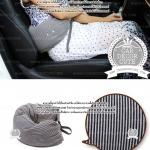 Travel Pillow U-shaped neck pillow - หมอนโฟมรองคอ หนุนเอว พกพาสำหรับขับรถ พกพาเดินทางบนเครื่องบิน - สีน้ำเงิน