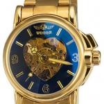 นาฬิกาโชว์กลไก นาฬิกาข้อมือเปลือย นาฬิกาข้อมือผู้ชาย แบบ Mechanical watch สีทอง สาย สแตนเลส หน้าปัดรูปหัวใจ ของขวัญให้แฟน สุดหรู 63620