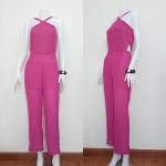 **สินค้าหมด jumpsuit423 จัมพ์สูทแฟชั่นขายาวสายเดี่ยวไข้วอกผ้าชีฟองสีชมพูช็อคกิ้งพิ้งค์