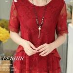 เสื้อผ้าลูกไม้แขนสั้น สีแดง ใส่แบบหลวม ๆ คล่องตัว แบบสวย มีดีไซน์ เสื้อลูกไม้ สีแดง แบบคุณนาย ใส่สวย ดูดี มีระดับ 161156