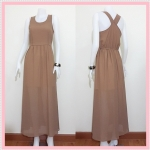 **สินค้าหมด dress2206 แม็กซี่เดรส/เดรสยาวแฟชั่น จับจีบเอวผ้าชีฟองสีน้ำตาลโอวัลติน