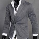 เสื้อคลุมผู้ชายแขนยาว สไตล์ แจ็คเก็ต แบบสูท คอปก ผ้า Cotton Jacket เสื้อคลุมใส่ทำงานใน ออฟฟิต สำหรับผู้ชาย สีเทาเข้ม no 894640_1